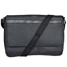 Buy Ted Baker Caleb Embossed Messenger Bag, Black Online at johnlewis.com