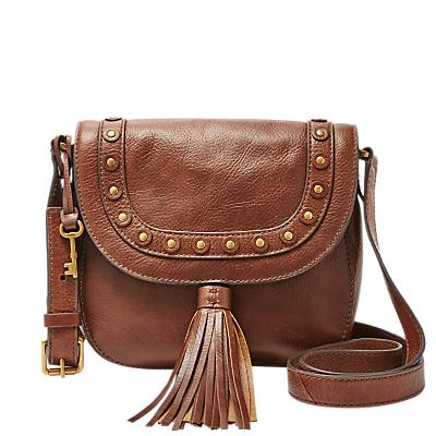 Fossil Emi Medium Leather Saddle Bag Brown