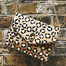 Buy John Lewis Patricia Leather Chain Across Body Bag, Animal Print Online at johnlewis.com