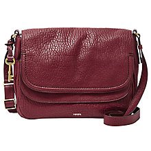 Buy Fossil Peyton Large Leather Double Flap Across Body Bag, Wine Online at johnlewis.com