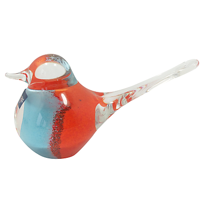 Image of Svaja Basil Bird Ornament, Orange / Blue