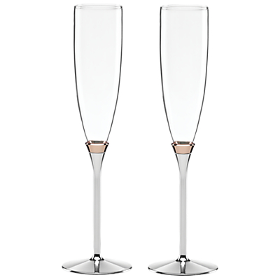 kate spade new york Rosy Glow Flute, Set of 2, Silver/ Rose