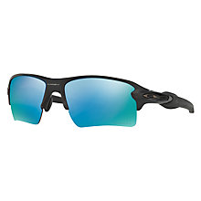 Buy Oakley OO9188 FLAK 2.0 XL PRIZM™ Polarised Rectangular Sunglasses, Matte Black/Deep Water Online at johnlewis.com