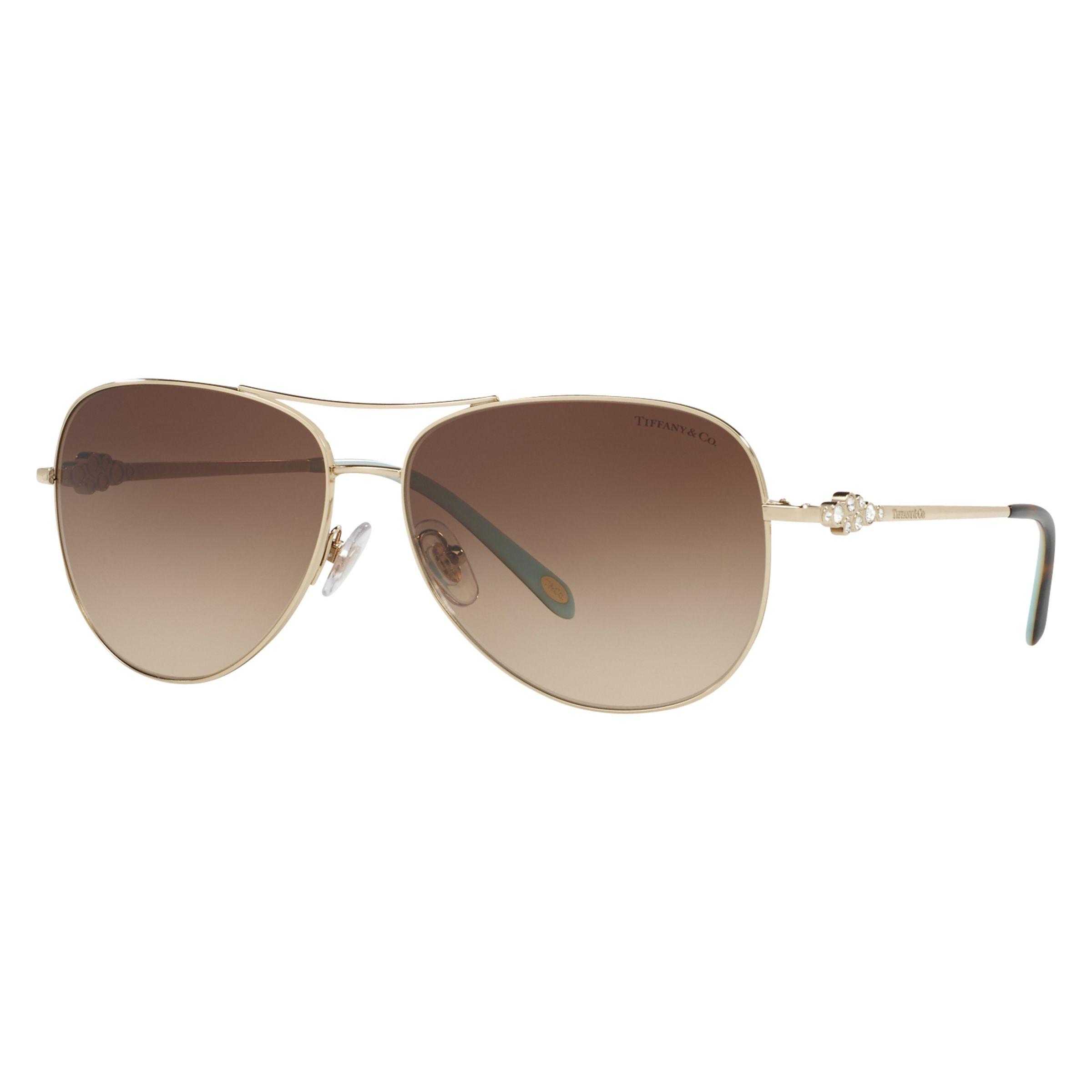 Tiffany & Co Tiffany & Co TF3052B Aviator Sunglasses, Gold/Brown