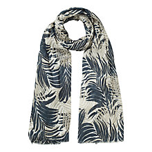 Buy East Cotton Palm Leaf Print Scarf, Black Online at johnlewis.com