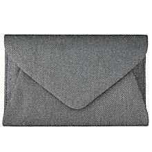 Buy John Lewis Fiona Glitter Envelope Clutch, Silver Online at johnlewis.com