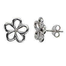 Buy Nina B Open Flower Stud Earrings, Silver Online at johnlewis.com