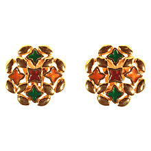 Buy Alice Joseph Vintage 1980s Givenchy Gold Plated Enamel Round Clip-On Earrings, Multi Online at johnlewis.com