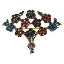 Buy Alice Joseph Vintage 1920s Silver Toned Diamante Bouquet Brooch, Green/Pink Online at johnlewis.com