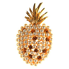 Buy Alice Joseph Vintage 1980s Ivana Gold Toned Pearl Diamante Pineapple Brooch, Pearl/Topaz Online at johnlewis.com