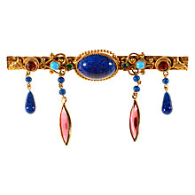 Buy Alice Joseph Vintage 1930s Gold Toned Faux Lapis and Diamante Drop Bar Brooch, Blue/Pink Online at johnlewis.com
