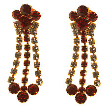 Buy Alice Joseph Vintage 1960s Gold Toned Diamante Clip-On Drop Earrings, Ruby/Clear Online at johnlewis.com