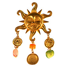 Buy Alice Joseph Vintage 1980s JJ Gold Toned Glass Sun Brooch, Pink/Gold Online at johnlewis.com