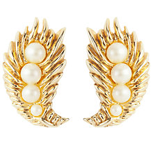 Buy Susan Caplan Vintage 1950s Trifari Gold Plated Faux Pearl Leaf Clip-On Earrings, Gold Online at johnlewis.com