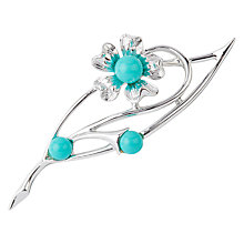 Buy Susan Caplan Vintage 1960s Sarah Coventry Silver Plated Faux Turquoise Leaf Brooch, Silver/Blue Online at johnlewis.com