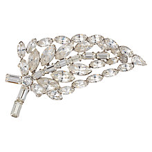 Buy Susan Caplan Vintage 1950s Chrome Plated Austrian Crystal Leaf Brooch, Silver Online at johnlewis.com