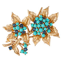 Buy Susan Caplan Vintage 1960s Trifari Gold Plated Lucite and Swarovski Crystal Floral Brooch, Gold/Turquoise Online at johnlewis.com