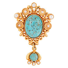 Buy Susan Caplan Vintage 1960s Edwardian Style Gold Plated Glass and Faux Pearl Brooch, Gold/Turquoise Online at johnlewis.com