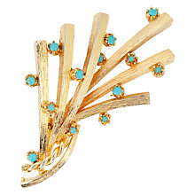 Buy Susan Caplan Vintage 1960s Gold Plated Faux Turquoise Brooch, Gold/Blue Online at johnlewis.com
