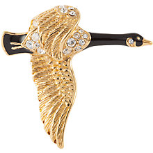 Buy Susan Caplan Vintage 1960s Attwood & Sawyer Gold Plated Swarovski Crystal Goose Brooch, Gold/Black Online at johnlewis.com
