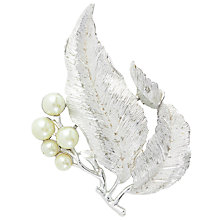 Buy Susan Caplan Vintage 1960s Susan Coventry Silver Toned Faux Pearl Leaf Brooch, Silver/White Online at johnlewis.com