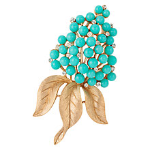 Buy Susan Caplan Vintage 1960s Trifari Gold Plated Faux Turquoise and Swarovski Crystal Leaf Brooch, Gold/Blue Online at johnlewis.com