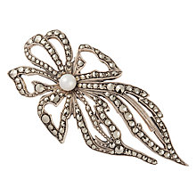 Buy Susan Caplan Vintage 1950s Sterling Silver Marcasite and Freshwater Pearl Floral Brooch, Silver Online at johnlewis.com