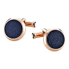 Buy Montblanc Meisterstück Round Goldstone Inlay Cufflinks, Blue Online at johnlewis.com