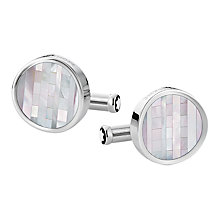 Buy Montblanc Heritage Round Concave Mother of Pearl Cufflinks, Silver Online at johnlewis.com