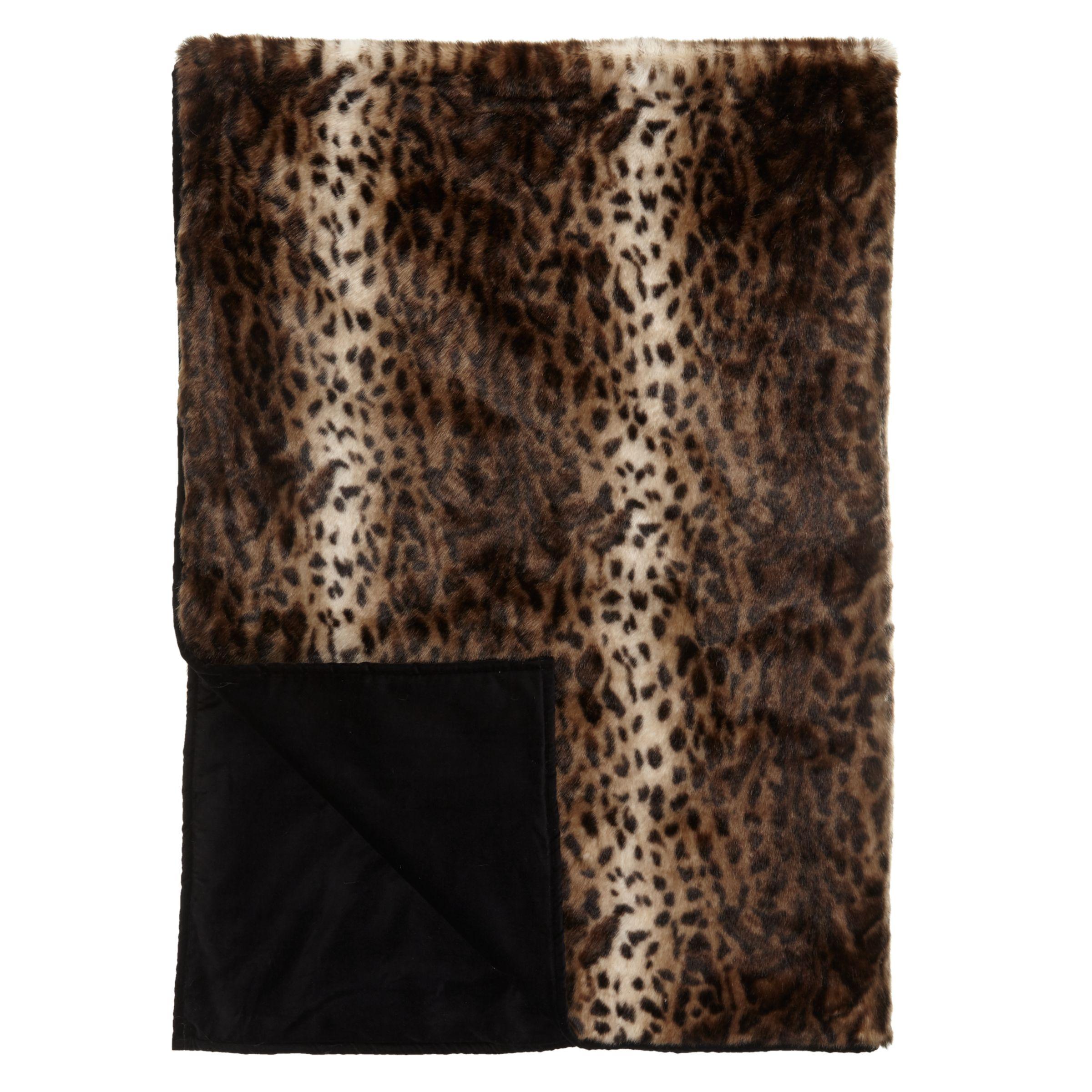 Helene Berman Helene Berman Brown Jaguar Faux Fur Throw