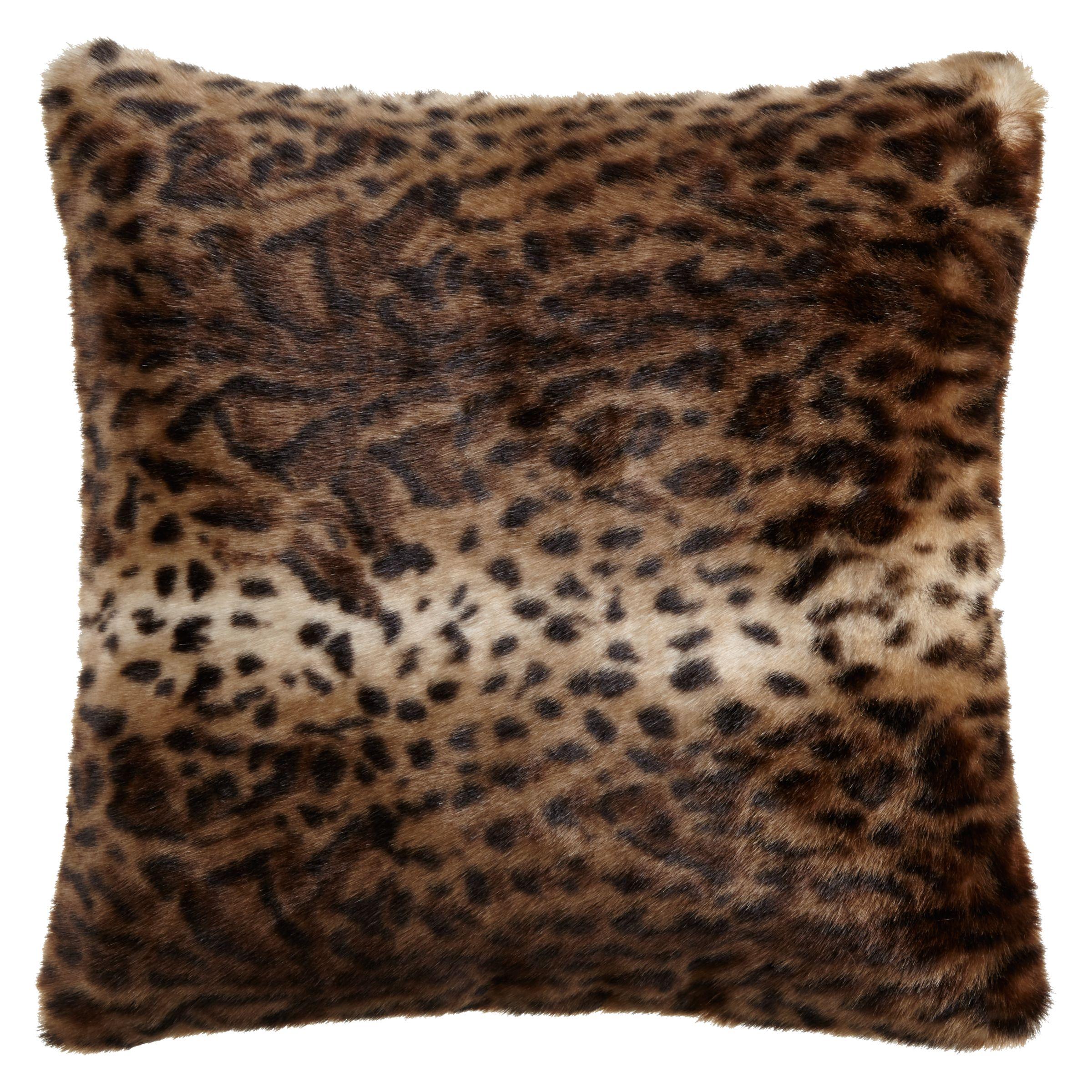 Helene Berman Helene Berman Brown Jaguar Faux Fur Cushion