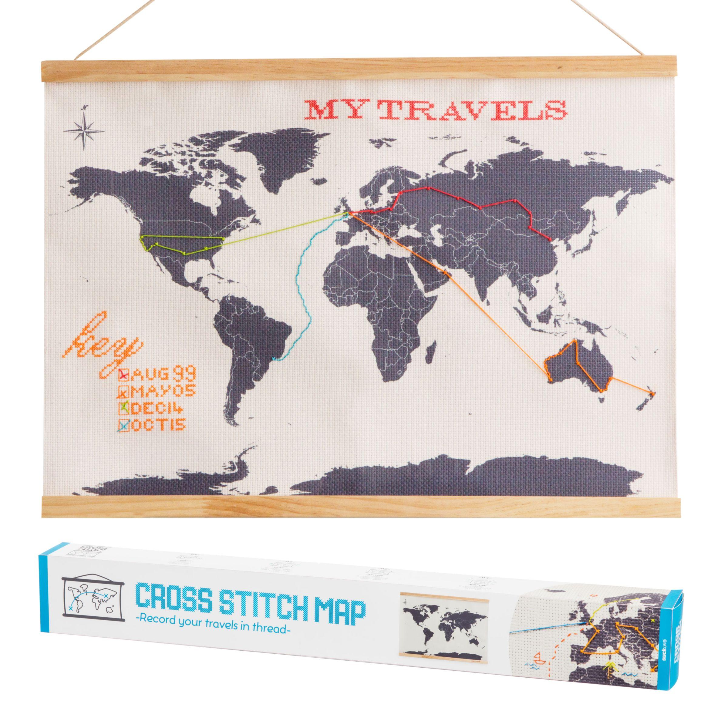 Suck UK Suck UK Cross Stitch Travellers Map