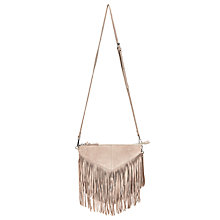Buy Pieces Bea Suede Fringe Across Body Bag, Moonbeam Online at johnlewis.com