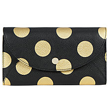 Buy John Lewis Lisa Leather Foldover Purse, Black Spot Online at johnlewis.com