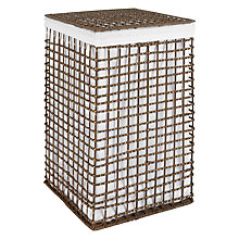 Buy John Lewis Square Rattan Laundry Basket, Brown Online at johnlewis.com