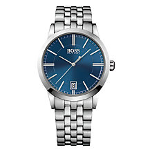 Buy HUGO BOSS 1513135 Men's Bracelet Strap Watch and Cufflink Set, Silver/Blue Online at johnlewis.com