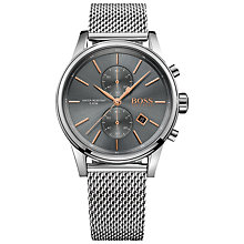 Buy HUGO BOSS Men's Jet Chronograph Date Mesh Bracelet Strap Watch Online at johnlewis.com