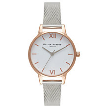 Buy Olivia Burton OB16MDW02 Women's White Dial Mesh Bracelet Strap Watch, Silver/White Online at johnlewis.com