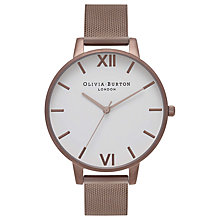 Buy Olivia Burton OB16BDW05 Women's White Dial Mesh Bracelet Strap Watch, Bronze/White Online at johnlewis.com
