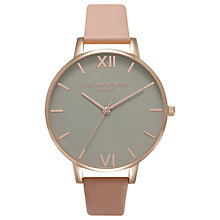 Buy Olivia Burton OB16BD88 Women's Grey Dial Leather Strap Watch, Dusty Pink/Grey Online at johnlewis.com