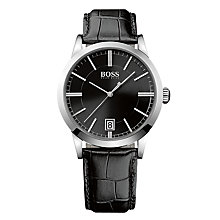 Buy Hugo Boss 1513129 Men's Date Leather Strap Watch and Cufflink Set, Black Online at johnlewis.com