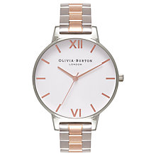 Buy Olivia Burton OB16BL32 Women's White Dial Two Tone Bracelet Strap Watch, Silver/Rose Gold Online at johnlewis.com