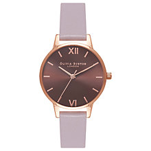 Buy Olivia Burton OB16MD65 Women's Brown Dial Leather Strap Watch, Grey Lilac/Brown Online at johnlewis.com