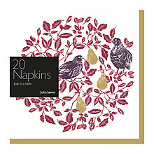 Buy John Lewis Ruskin House Partridge Napkins, Pack of 20 Online at johnlewis.com
