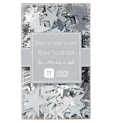 Talking Tables Party Porcelain Foil Star Scatter, Silver