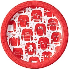 Buy Ginger Ray Christmas Jumper Paper Plates, Pack of 8 Online at johnlewis.com