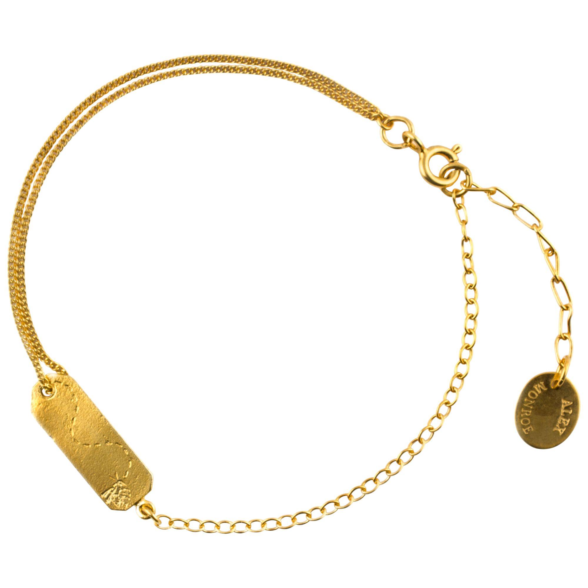 Alex Monroe Alex Monroe 22ct Gold Plated Sterling Silver Time Flies Tag Bracelet, Gold