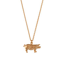 Buy Alex Monroe 22ct Rose Gold Plated Sterling Silver Suffolk Pig Pendant Necklace, Rose Gold Online at johnlewis.com