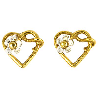 Alex Monroe 22ct Gold Plated Sterling Silver Baby Posy Heart Stud Earrings, Gold