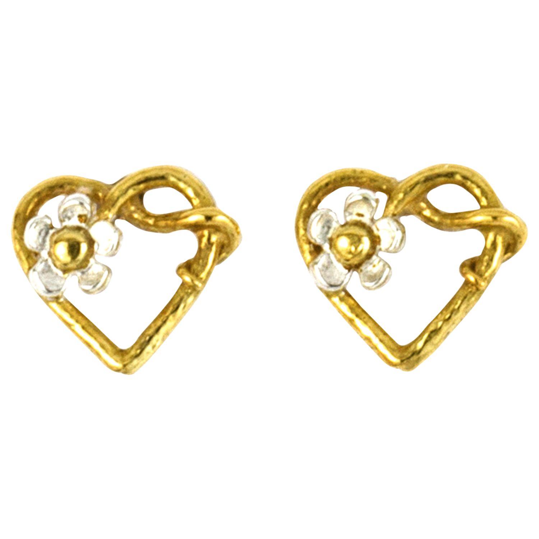 Alex Monroe Alex Monroe 22ct Gold Plated Sterling Silver Baby Posy Heart Stud Earrings, Gold